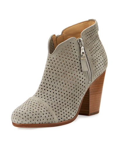 Margot Perforated Suede Ankle Boot