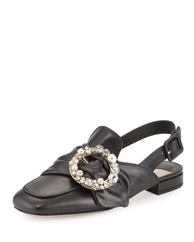 Pearly-Buckle Leather Slingback Flat