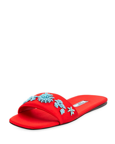Beaded Satin One-Band Flat Slide Sandal
