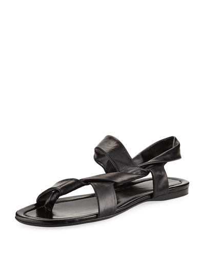 Giada Leather Twisted Flat Sandal