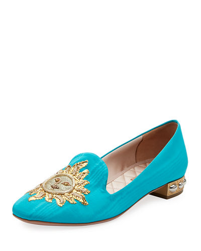Embroidered Moire Loafer