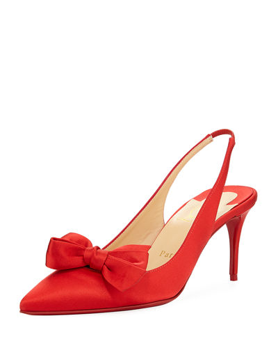 Yasling Bow Slingback Red Sole Pump