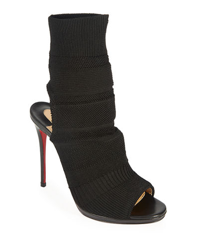 Cheminene Stretch-Knit Open-Toe Red Sole Bootie