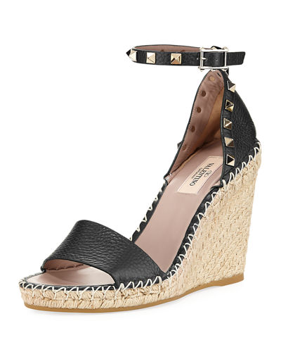 Rockstud Leather Espadrille Wedge Sandal