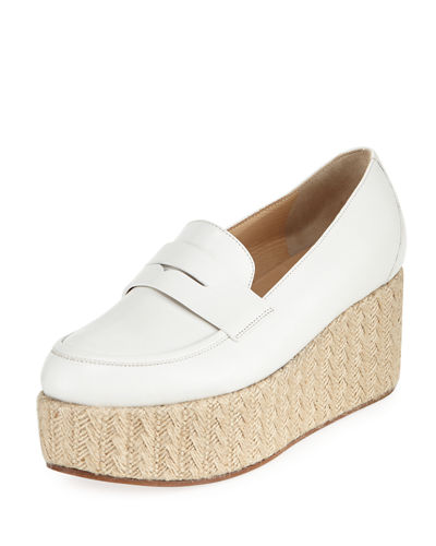 Leather Penny Loafer Espadrille