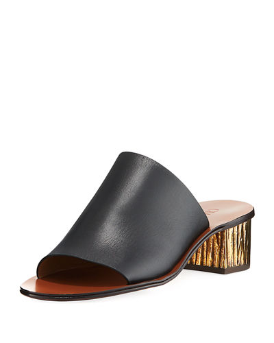Qassie Leather Block-Heel Mule Sandal