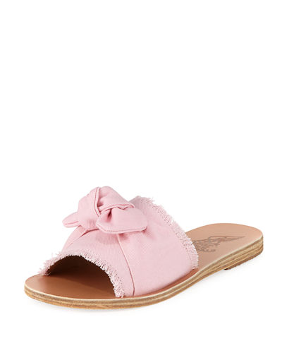 Taygete Denim Bow Flat Slide Sandal