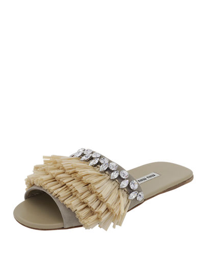 Fringed One-Band Flat Slide Sandal
