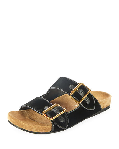 Velvet Two-Strap Slide Sandal