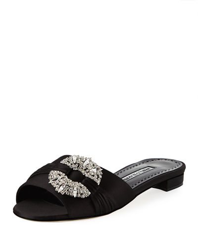 Pralin Satin Flat Slide Sandal
