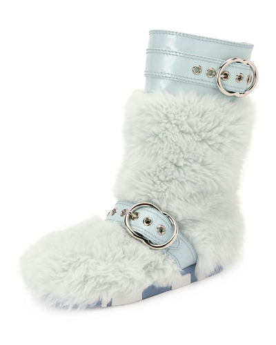 Faux-Fur Boot with Buckle Detail