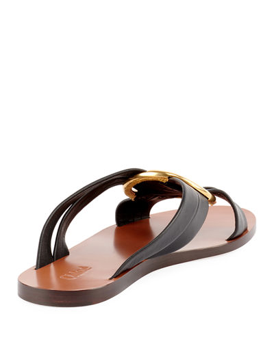 Leather Ring Crisscross Slide Sandal