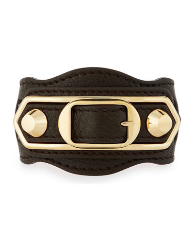 Metallic Edge Leather Belt-Style Bracelet