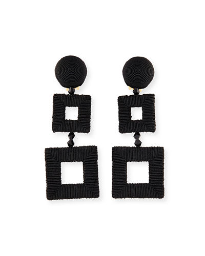 Wrapped Double-Square Drop Earrings