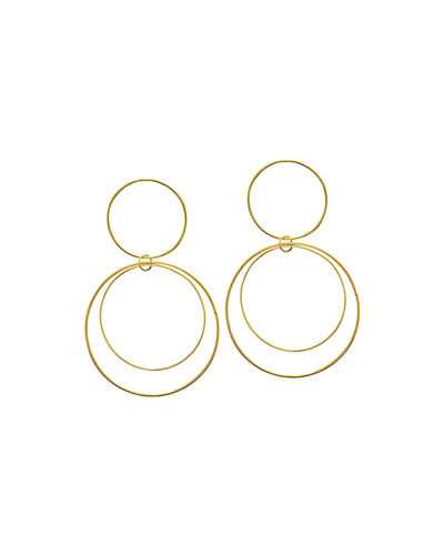 Two-Tiered 14K Gold Flat Circle Earrings