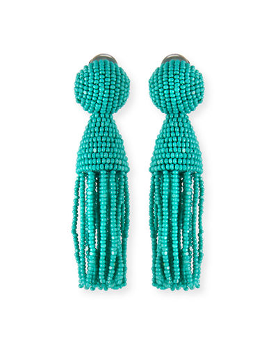 Short Beaded Tassel Clip Earrings