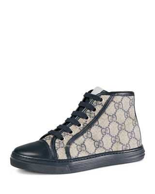 Gucci Gg Supreme Canvas High Top Sneaker Kids Sizes 10