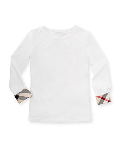 Tulisa Check-Cuff Long-Sleeve Tee, 4-14Y