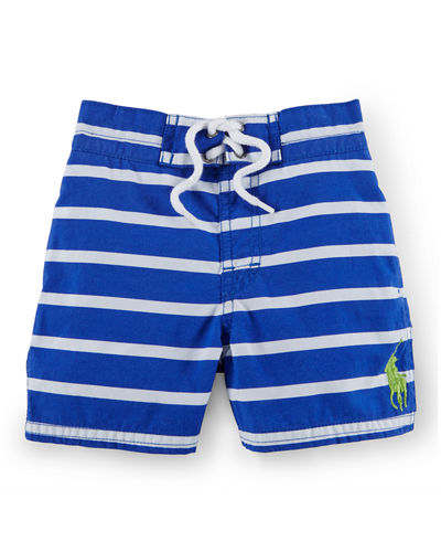 Ralph Lauren Childrenswear Sanibel Striped Tie-Front Swim Trunks,