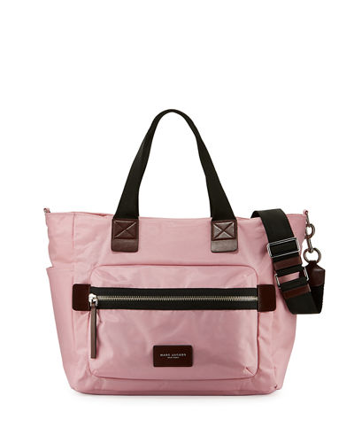 Leather-Trim Nylon Biker Babybag