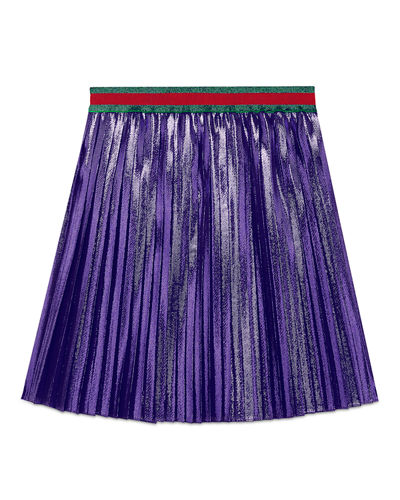 Pleated Long Metallic Skirt, Size 4-12