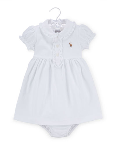 Cap-Sleeve Pima Polo Dress w/ Bloomers, Size 9-24 Months