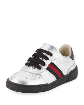 gucci kids shoes. Metallic Leather Sneaker, Toddler Gucci Kids Shoes