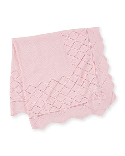 Pili Carrera Diamond-Pointelle Knit Baby Blanket