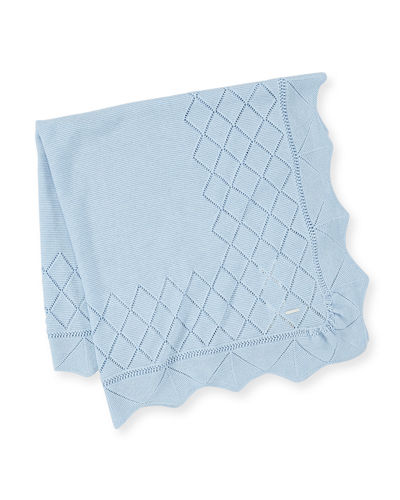 Diamond-Pointelle Knit Baby Blanket