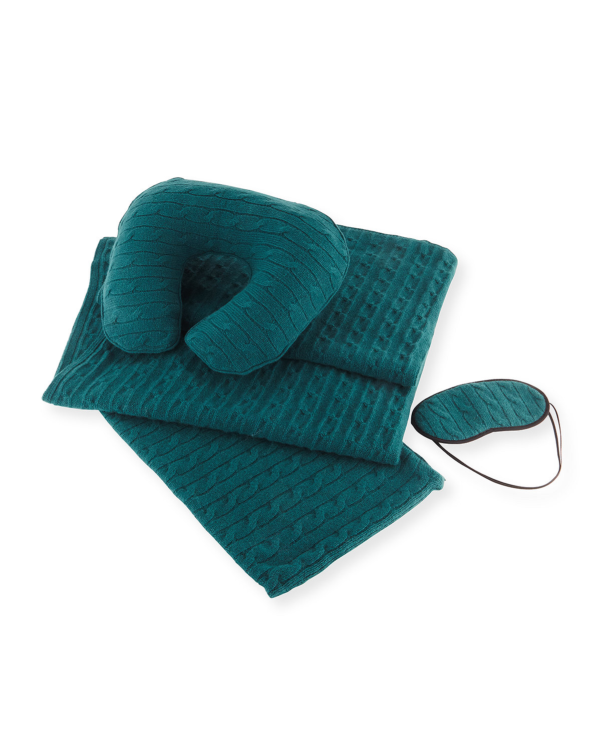 Sofia Cashmere Accessories CASHMERE CABLE-KNIT TRAVEL GIFT SET W/ MONOGRAM