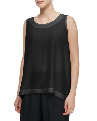 Lightweight Silk A-Line Shell, Black