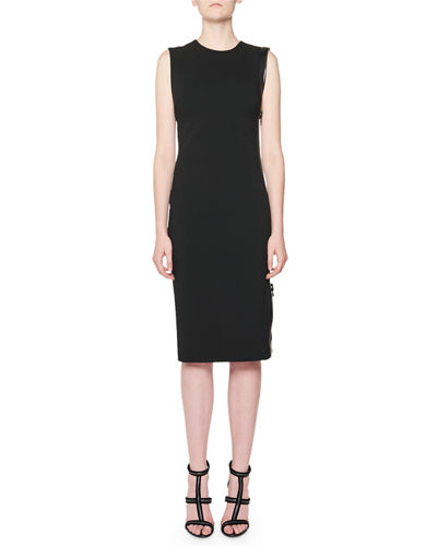 Sleeveless Zip-Trim Sheath Dress