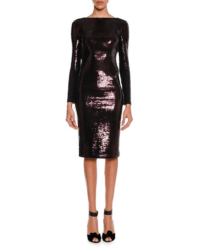 Sequined Zip-Trim Scoop-Back Long-Sleeve Dress