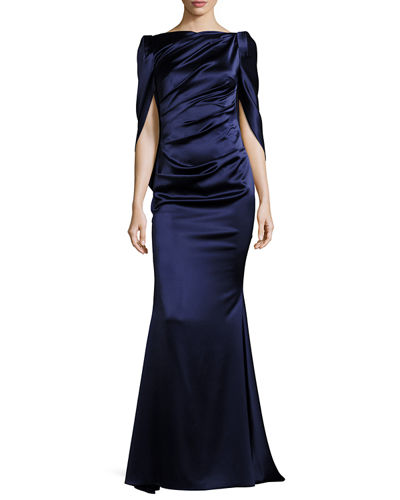Konica Satin Cape-Back Evening Gown