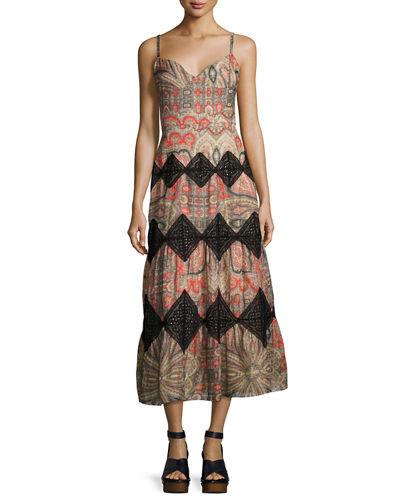 Paisley Scarf-Print Midi Dress
