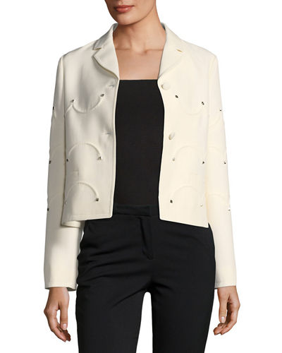 Rockstud Scalloped Crepe Jacket