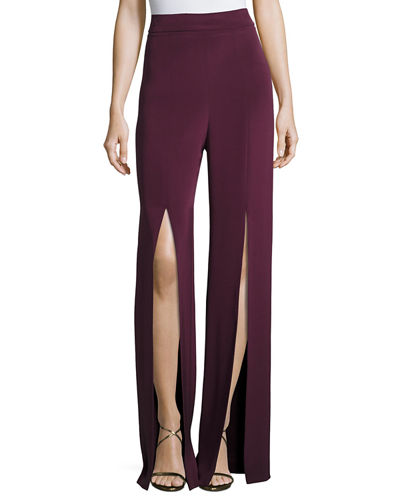 Slit-Front Crepe High-Waist Pants