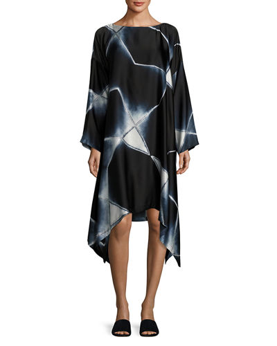 Abstract Geometric Shibori Silk Dress