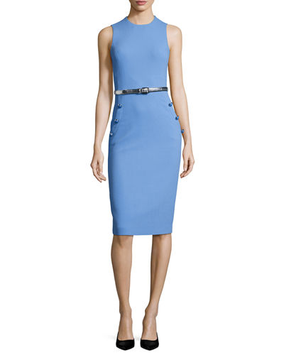 25c553a74887 Michael Kors Collection Boucle Belted Sleeveless Sheath Dress