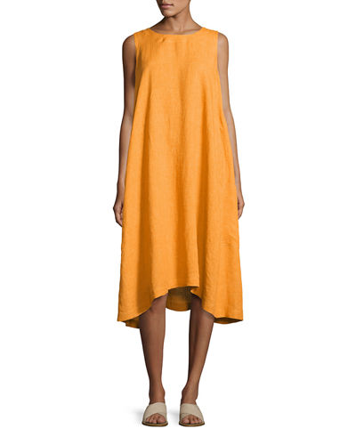 Sleeveless A-Line Linen Dress