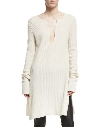 Ribbed Cashmere Side-Slit Tunic