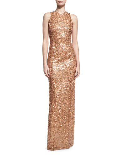 Sequined Racerback Column Gown