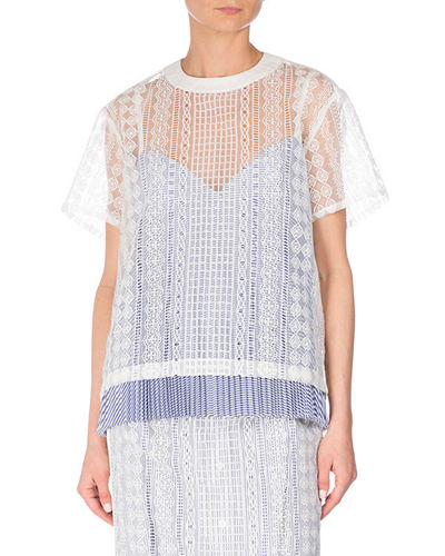 Short-Sleeve Cable Lace Top