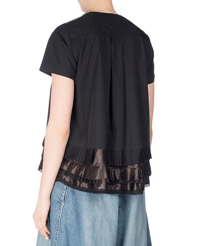 Short-Sleeve Tee w/Satin Ruffles