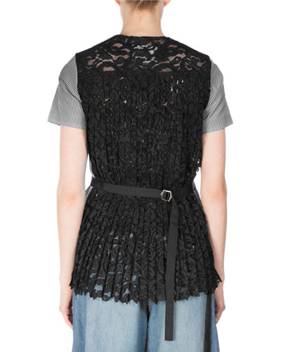 Poplin Tee w/Pleated Lace Back