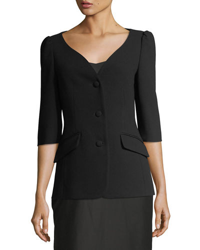 V-Neck Button Front Jacket