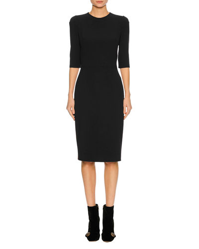 1/2-Sleeve Fitted Cady Cocktail Dress