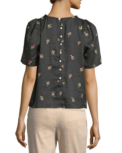 Uaraza Pleated Floral-Print Top