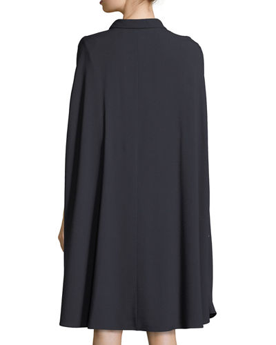 Cape-Sleeve Tie-Neck Dress