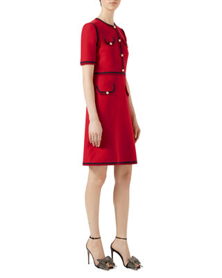 Grosgrain-Trimmed Wool And Silk-Blend Cady Mini Dress in Red